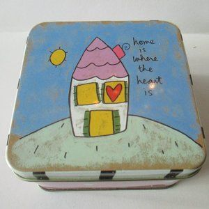Home is Where the Heart Is vintage candle tin box